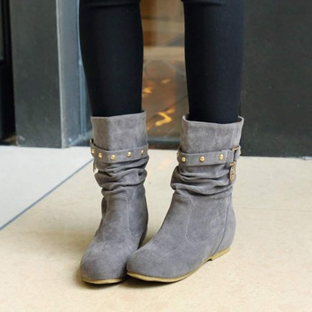 SANFASHION Bottines Court Femme Boots Chaud Rivets Flat Wedges Chaussures Botte de Neige