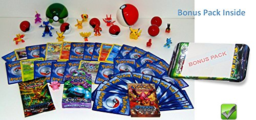 Pokemon Party Bundle with EXTRA BONUS PACK, 2 large random Pokeball, 6 small Pokeball with small toys, 2 two inch figures, 12 one inch Pokemon figures, 50 Pokemon cards, Pokemon Toys, Gift Bundle Set - Pokemon Packs Old