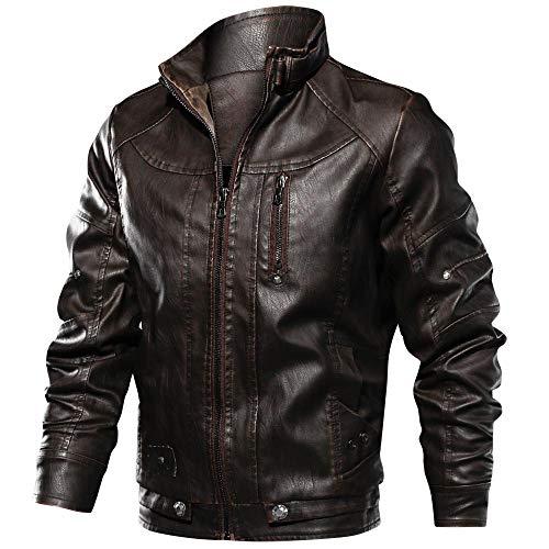 FONMA Men's Autumn Winter Casual Outwear Long Sleeve Top Stand Zipper Leather Jacket Coffee