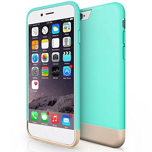 Mediabridge Safe Slider Case For iPhone 6 (Aqua/Gold) - Protective Soft Interior Scratch Protection - Trendy Color Scheme - Metallic Finished Base & Hard Shell Exterior - (Part# PC12-I6-AQU )