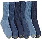 Gold Toe Men's Cotton Crew 6 Plus 2 Bonus Pack, Washed Blue/Sky Blue/Midnight, Sock Size: 10-13/Shoe Size:9-11