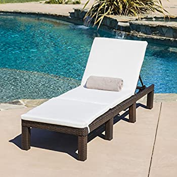 estrella outdoor multibrown wicker adjustable chaise lounge chair w cushion