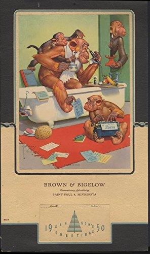 - Lawson Wood Monkeys Business as Usual Brown & Bigelow sample calendar 1950