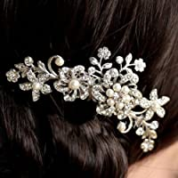 Bridal Wedding Flower Rhinestone Pearl Women Noble Artistic Photo Hair Clip Comb