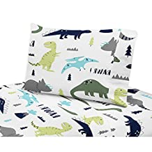 4 Piece Rawring Mod Dinosaur Patterned Sheet Set Queen Size, Featuring Printed Bold Vibrant Dinosaurs Bedding, Extinct Nature Animals, Safari Cute Dino Figure Wildlife Jungle Kids Bedroom, Multicolor