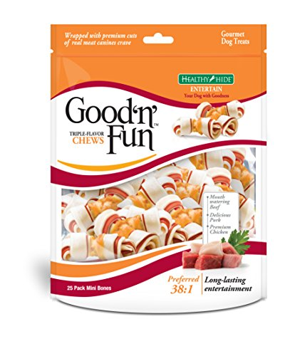 Good 'N' Fun Triple Flavor Mini Rawhide Chews, 25-Count