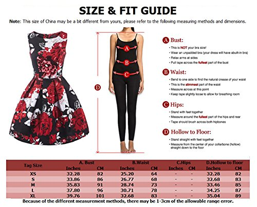 LaoZan Vestido de Swing Sin mangas Impresión de la flor Retro Vestido de coctail de mujer Rojo Check Print
