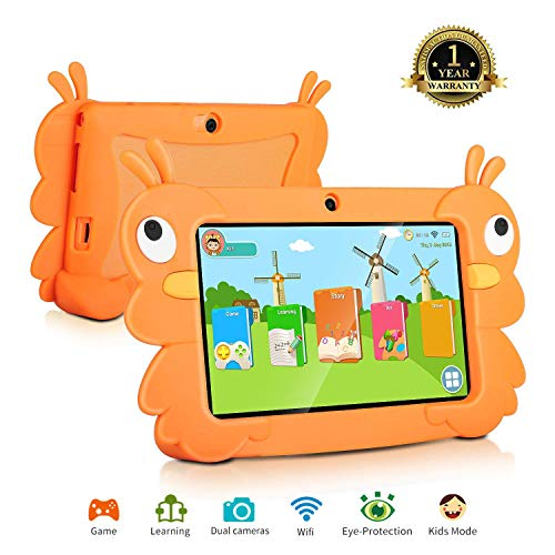 7 Android Kids Tablet Childrens Tablet PC Kids Edition Tablet Quad Core Kids Tablet with WiFi Camera 1GB + 16GB Parental Control (Orange)