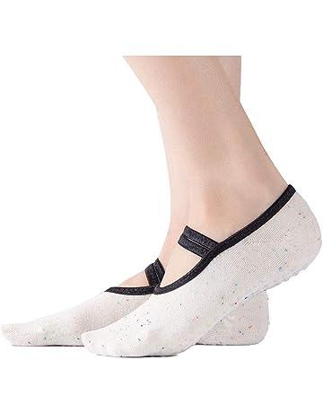 Shuzhen,3 pares de ballet de cabeza redonda calcetines de yoga antideslizantes calcetines de yoga