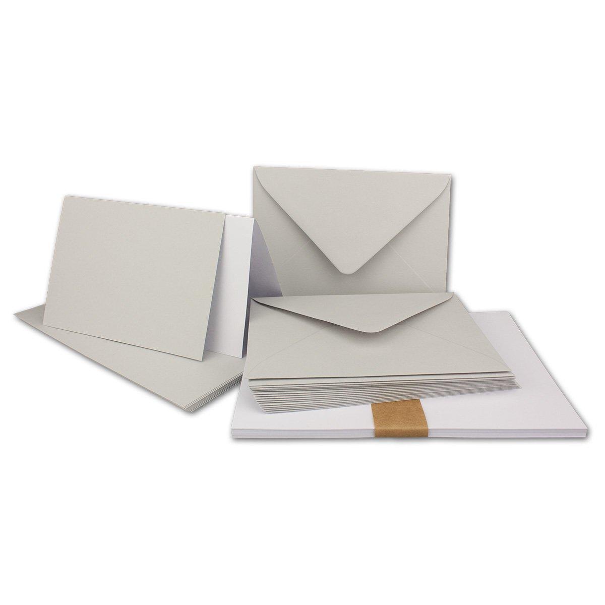 150 Sets - Faltkarten Hellgrau - DIN A5  Umschläge  Einlegeblätter DIN C5 - PREMIUM QUALITÄT - sehr formstabil - Qualitätsmarke  NEUSER FarbenFroh B07C2XC4NB | Bestellung willkommen