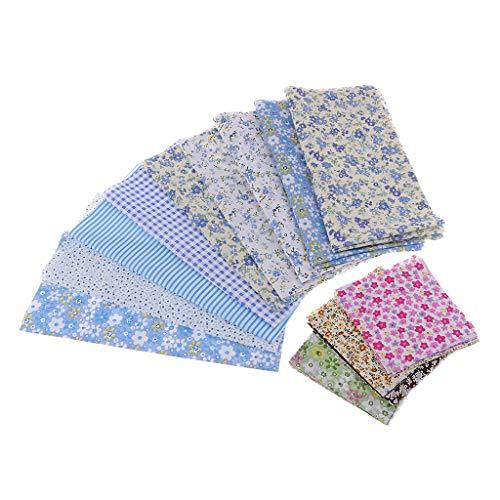 D DOLITY 約39ピース 花柄 布 コットン 生地 DIY 工芸品 多目的 全5色 - 青の商品画像