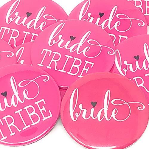 Bride Tribe Buttons - Pins - Set of 10 - Bachelorette Party Pins - Bachelorette Buttons - Bachelorette Party Favors ()