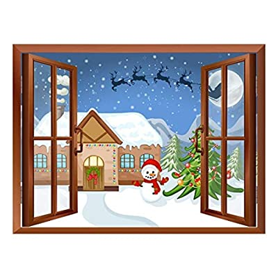 Amazing Design, Cartoon Santa Claus and Reindeers Flying Over The Rooftop Peel and Stick Removable Window View Wall Sticker Wall Mural, Premium Creation