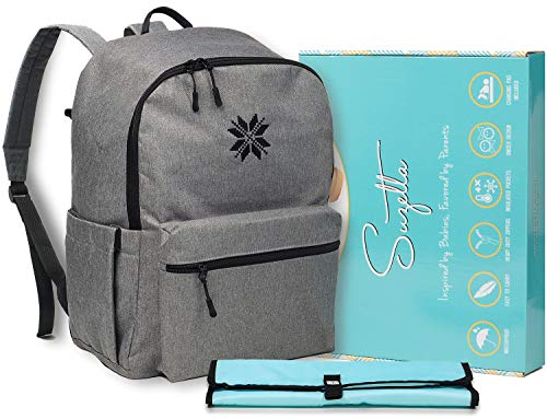 Extra Large Capacity Diaper Bag Backpack for Dad | Best Baby Bag for Boys, Twins or Two Kids | Diaper Bookbag for Men and Women - Gray/Teal from Suzetta