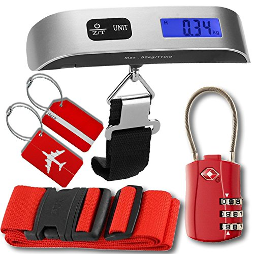 Luggage Accessories Kit, Luggage Scale with Tare Function, TSA Accepted Cable Luggage Lock, Luggage Tags, Bag Travel ID Labels for Baggage Suitcases, Luggage Straps Suitcase Belts, Gift for Traveler by HeroFiber