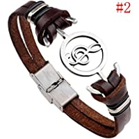 Mens Stainless Steel Musical Note Charm Leather Wristband Bracelet Jewelry Gift LOVE STORY nogluck (Brown)
