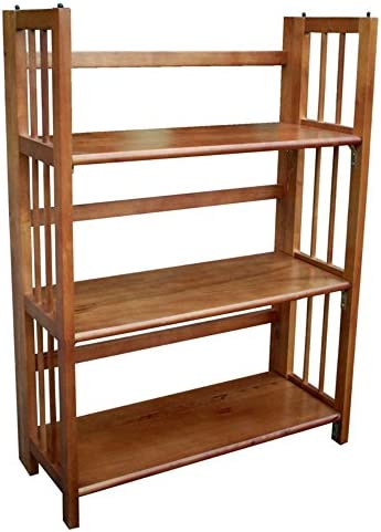 3 Tier Folding Bookcase Finish Honey Oak
