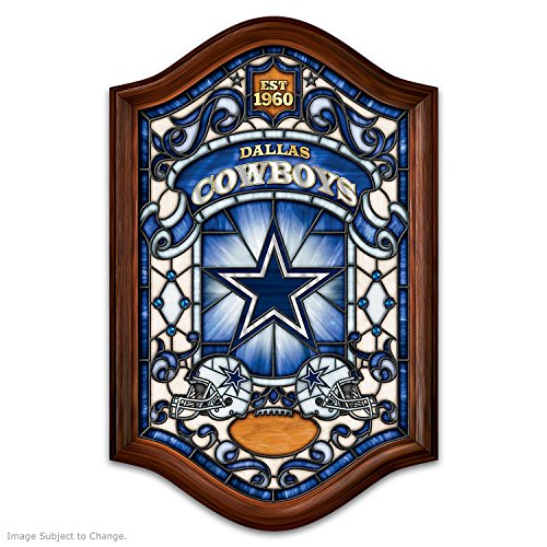 Stained Glass Cowboy - Dallas Cowboys Stained Glass Wall Decor Lights Up by The Bradford Exchange