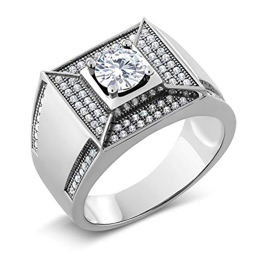 Created Moissanite Gents Ring - 4
