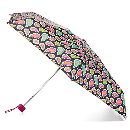 - totes Compact Travel Foldable Water-Resistant Umbrella, Black Paisley