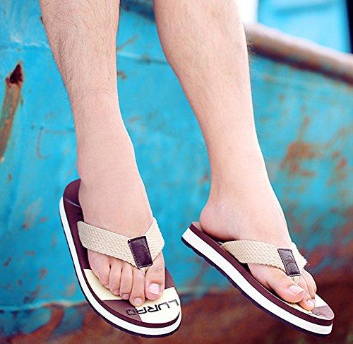 Summerwhisper Mens Durable Antiskid Beach Slippers Platform Thong Flip Flops Brown UWYOa