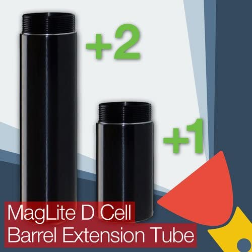 One Cell or Two Cell Battery Options TorchUpgrades MagLite D Cell Barrel//Body Extension Tube