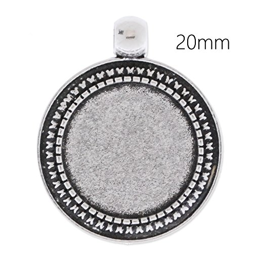 20mm Round Pendant (20pcs- Antique Silver Plated Blank Pendant Trays fit 20mm Round Cabochon)