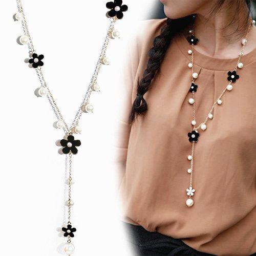 QTMY Women Y Necklace Elegant Pearl Flower fringe tassel Long Chain Pendant Necklace Fashion Jewelry (Black)
