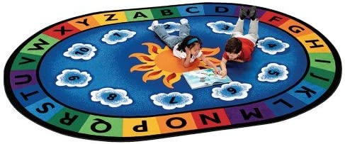 Carpets for Kids Literacy Sunny Day Learn and Play Kids Rug Size Oval 8 3 x 11 8 , Blue