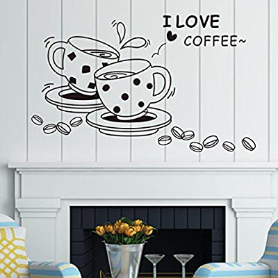 Voberry® Hot!I Love Coffee Kitchen Wall Sticker Vinyl Art Home Decal Removable Decoration for Dining Room