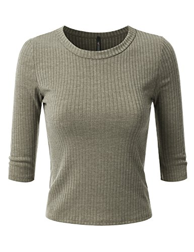 Dooublju Fitted Crewneck Ribbed Knit Crop Top OLIVE LARGE