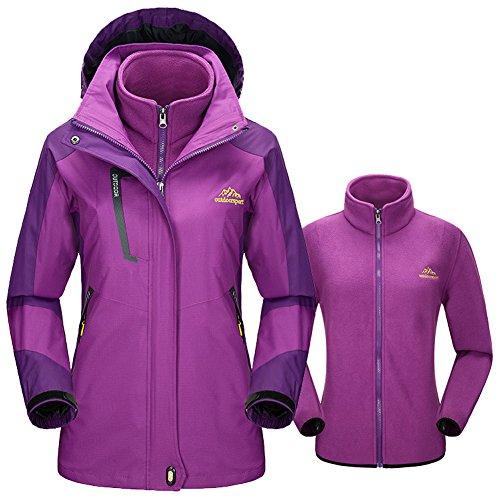 Women's Mountain 3 In 1 Waterproof Snowboarding Ski Jacket Fleece Liner Jacket Hooded Soft ShellOutdoor Sportwear (Purple, L)
