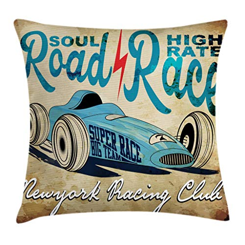 - Ambesonne Cars Throw Pillow Cushion Cover, New York Racing Club Race Car from Twenties Road Race Team Old School Cool Design, Decorative Square Accent Pillow Case, 18
