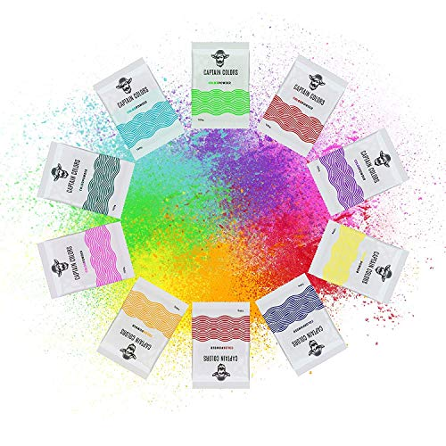 10 Colors x 100g Each - Holi Color Powder, 10 Natural Pigments for Gender Reveal, Color Runs, Color Wars, Rangoli, Gulal - Blue, Red, Orange, Yellow, Green, Pink, Purple Powders (100g Each) by Captain Colors