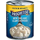 Progresso Soup, Rich & Hearty, New England Clam Chowder Soup, Gluten Free, 18.5 oz Cans (Pack of 12)