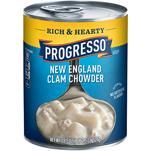 Progresso Soup, Rich & Hearty, New England Clam Chowder Soup, Gluten Free, 18.5 oz Cans (Pack of 12) (Progresso New England Clam)