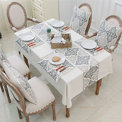 HWY 50 Kitchen Linen Embroidered Set (Includes: One Tablecloth 60 x 84 inch , Four Throw Pillows Covers 18 x 18 inch , Four Placemats 13 x 18 inch )