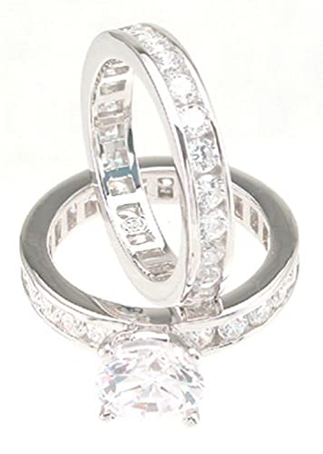 Solitaire White CZ Wedding Band Engagement Ring Set In 925 Sterling Silver Size 5