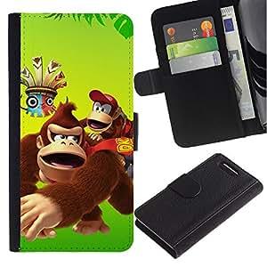 YiPhone /// Tirón de la caja Cartera de cuero con ranuras para tarjetas - Feliz del mono del gorila de la historieta - Sony Xperia Z3 Compact