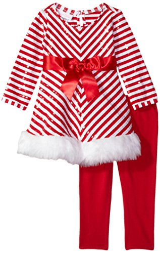 Bonnie Baby Baby Girls Christmas Dress and Legging Set, Red 3-6 -