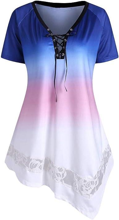 Camiseta Mujer, Casual Manga Corta Verano Moda Tie-Dye Blusas ...