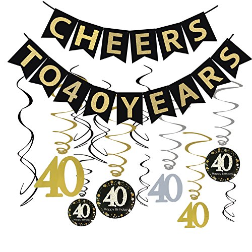 Tuoyi 40th Birthday Party Decorations KIT - Cheers to 40 Years Banner, Sparkling Celebration 40 Hanging Swirls, Perfect 40 Years Old Party Supplies 40th Anniversary Decorations (Banner)]()