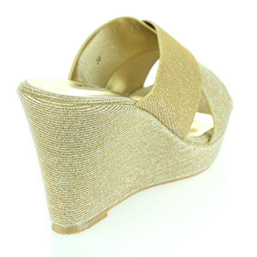 Femmes compensé Soir Or sandales jours Confort Talon Tous Chaussures Dames Taille Fête Des Décontractée les 446r5xz