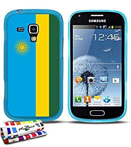 Carcasa Flexible Ultra-Slim SAMSUNG GALAXY S DUO de exclusivo motivo [Bandera Ruanda] [Azul lago] de MUZZANO  + ESTILETE y PAÑO MUZZANO REGALADOS - La Protección Antigolpes ULTIMA, ELEGANTE Y DURADERA para su SAMSUNG GALAXY S DUO
