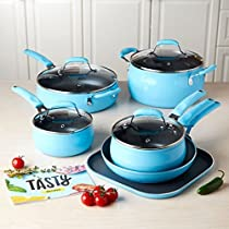 Tasty 11pc Cookware Set Non-Stick - Diamond Reinforced - PFOA Free, Blue