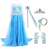 Newland Little Girls Princess Dress Costume for Christmas Birthday Halloween Party (130CM(5-6T)-XL, Blue Elsa with Accessories)