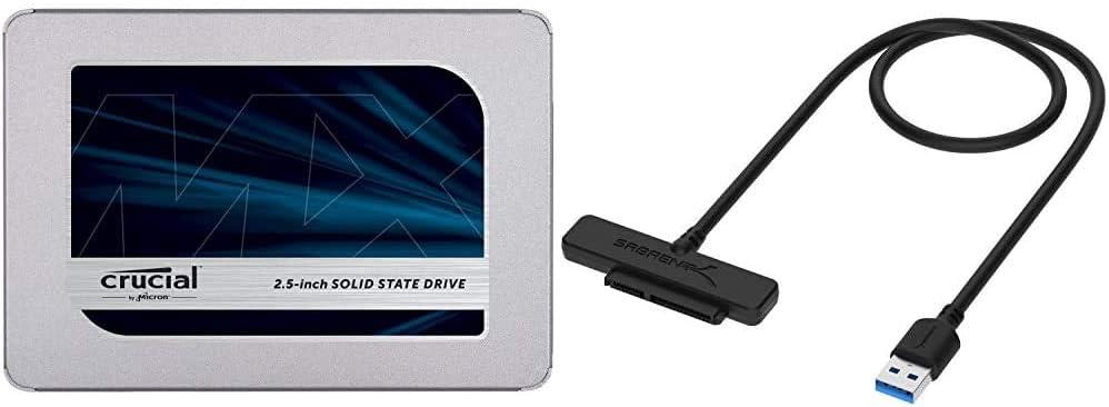 Crucial MX500 1TB 3D NAND SATA 2.5 Inch Internal SSD - CT1000MX500SSD1, Blue/Gray Bundle with Sabrent USB 3.0 to SSD / 2.5-Inch SATA I/II/IIIHard Drive Adapter (EC-SSHD)