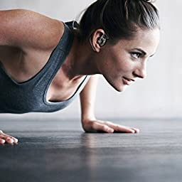 Wireless Earbuds, DAVIKERY True Wireless Stereo Bluetooth 4.2 Dual Headphones Cordless Sweatproof In-Ear Headset with Mic, 8 Hours Battery life, Secure Fit for Sports - Black