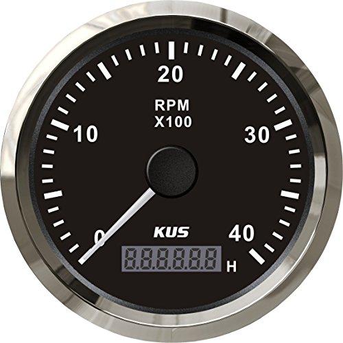 KUS Tachometer RPM Gauge REV Meter with Hour Meter 4000RPM 85mm 12V/24V with -