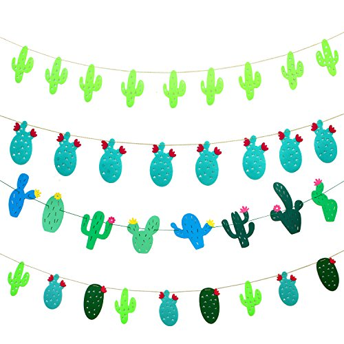 Aneco 4 Sets Cactus Banner Garland Party Supplies NonWoven Fabric and Paper Cactus Banner for Tropical Party Birthday Party Festival Decoration